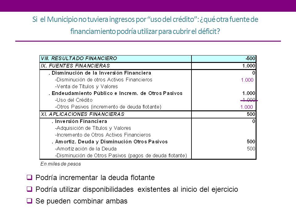 Si el Municipio no tuviera ingresos por uso del crédito : ¿qué otra fuente de financiamiento podría utilizar para cubrir el déficit