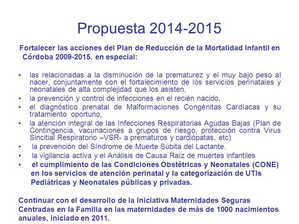 Propuesta 2014-2015 Córdoba 2009-2015, en especial: