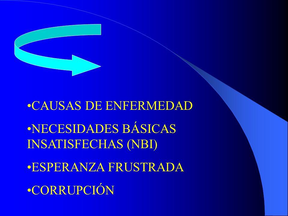 CAUSAS DE ENFERMEDAD NECESIDADES BÁSICAS INSATISFECHAS (NBI) ESPERANZA FRUSTRADA CORRUPCIÓN