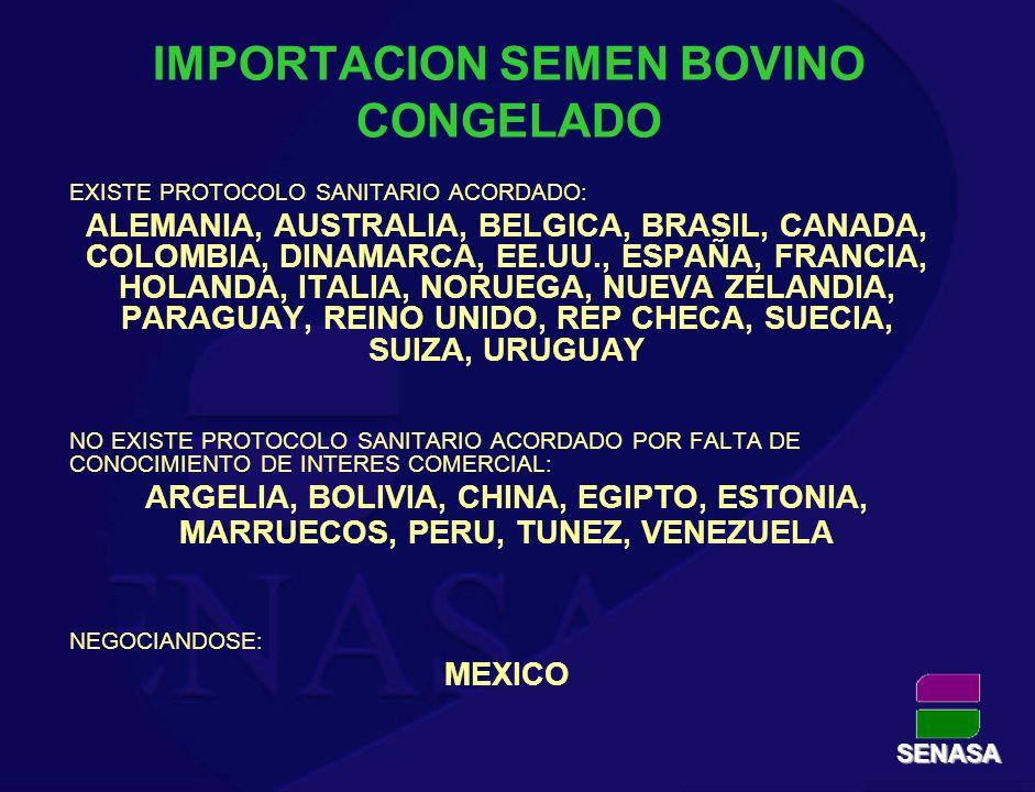 IMPORTACION SEMEN BOVINO CONGELADO