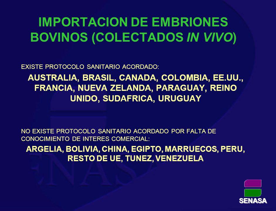 IMPORTACION DE EMBRIONES BOVINOS (COLECTADOS IN VIVO)