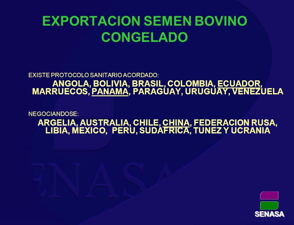 EXPORTACION SEMEN BOVINO CONGELADO