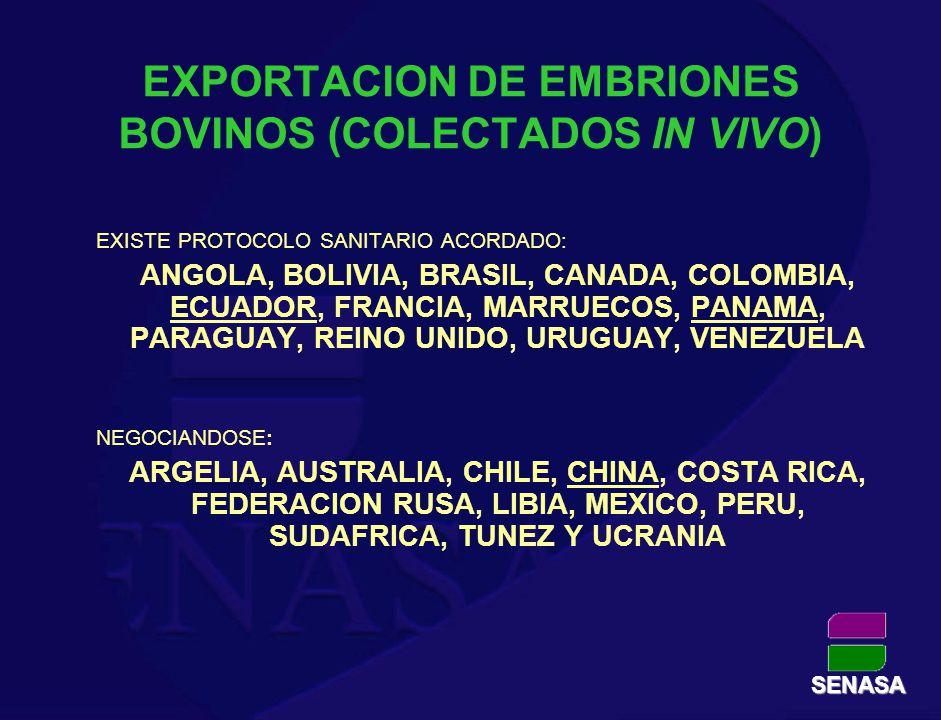 EXPORTACION DE EMBRIONES BOVINOS (COLECTADOS IN VIVO)