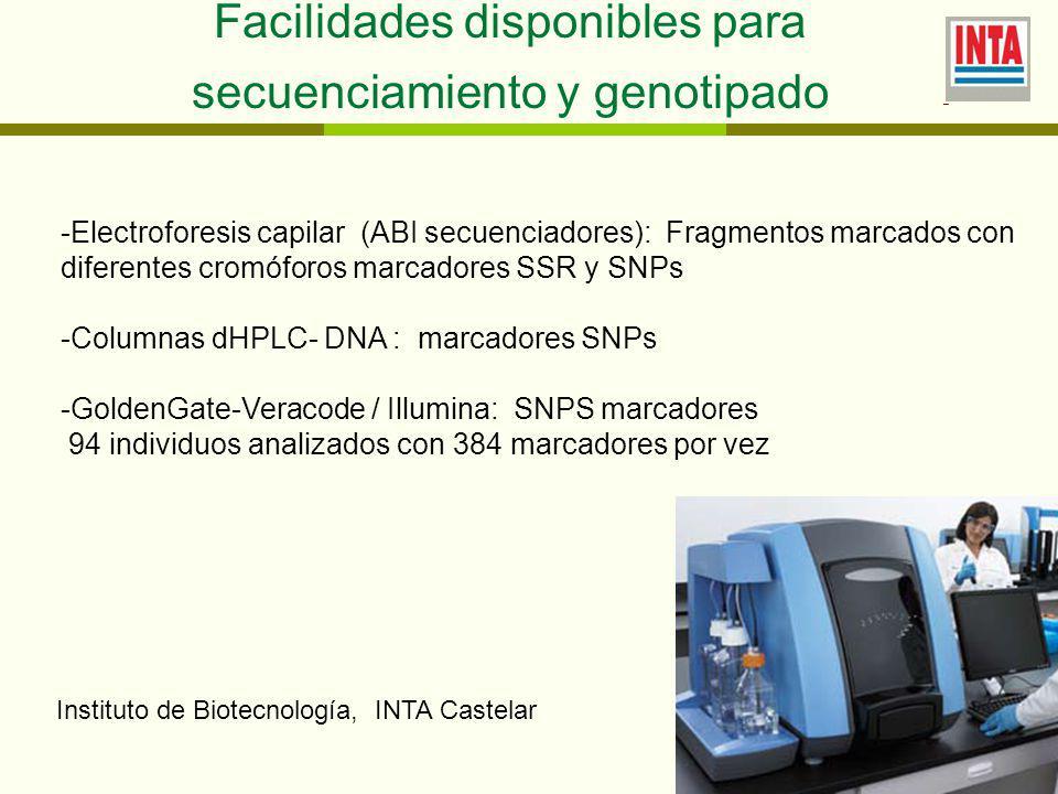 Facilidades disponibles para secuenciamiento y genotipado