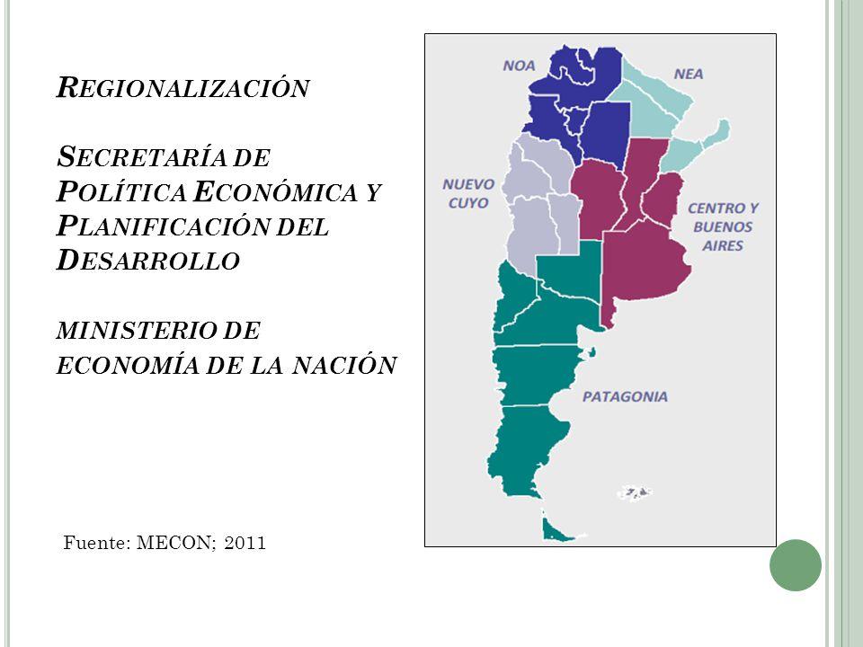 Regionalización Secretaría de Política Económica y Planificación del Desarrollo ministerio de economía de la nación