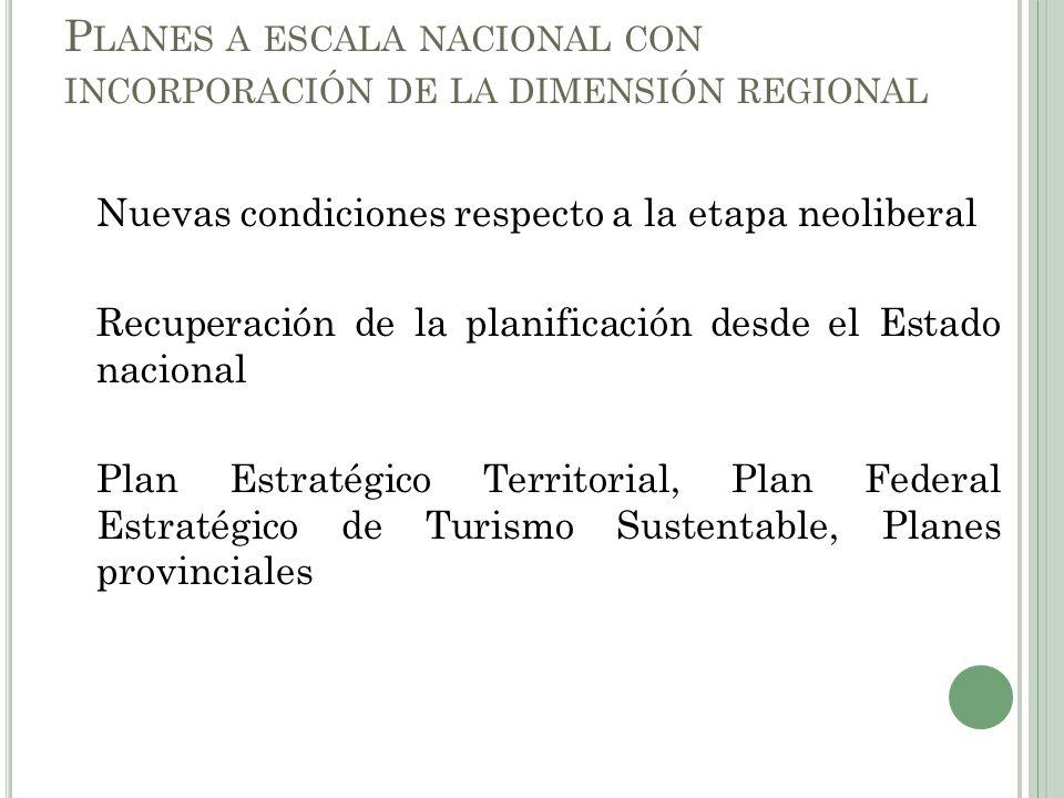 Planes a escala nacional con incorporación de la dimensión regional