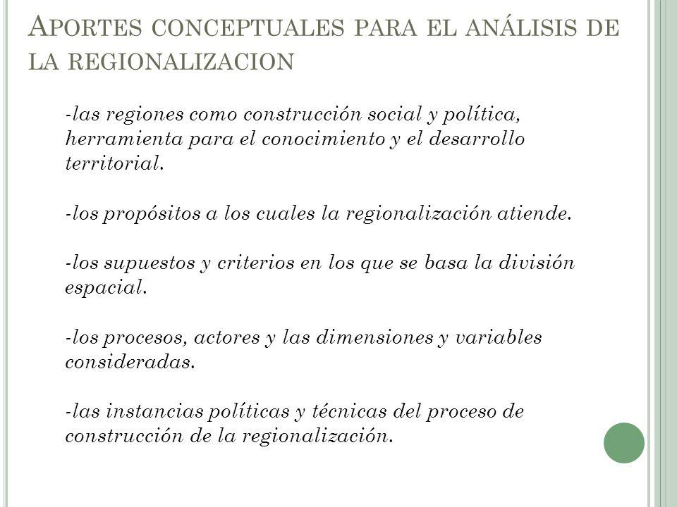 Aportes conceptuales para el análisis de la regionalizacion
