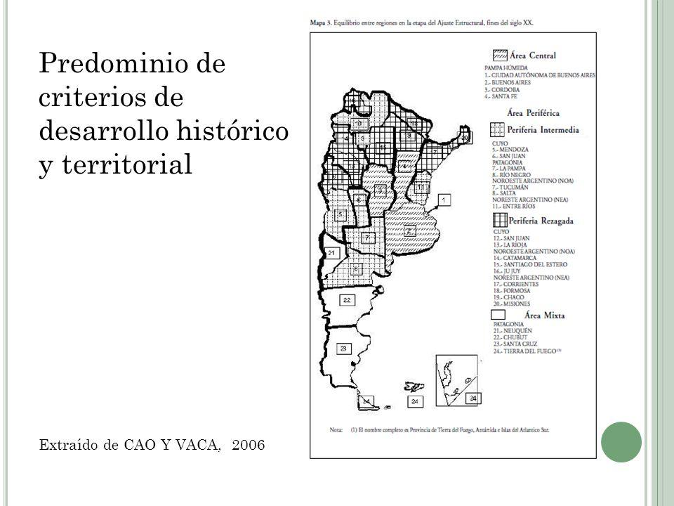Predominio de criterios de desarrollo histórico y territorial