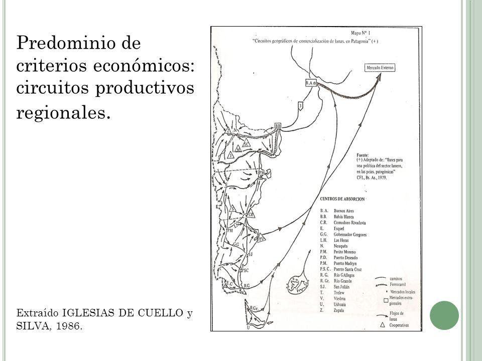 Predominio de criterios económicos: circuitos productivos regionales.
