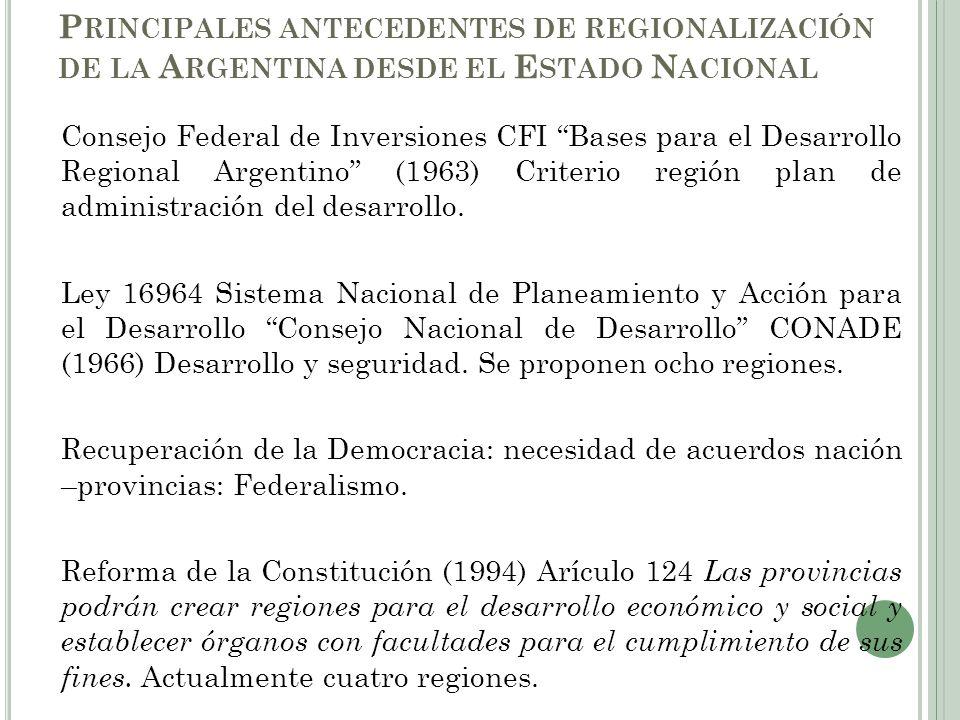 Principales antecedentes de regionalización de la Argentina desde el Estado Nacional
