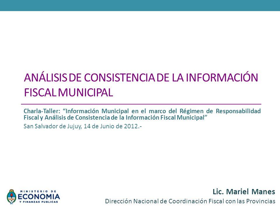 Análisis de Consistencia de la información fiscal municipal