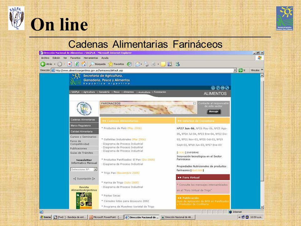 On line Cadenas Alimentarias Farináceos