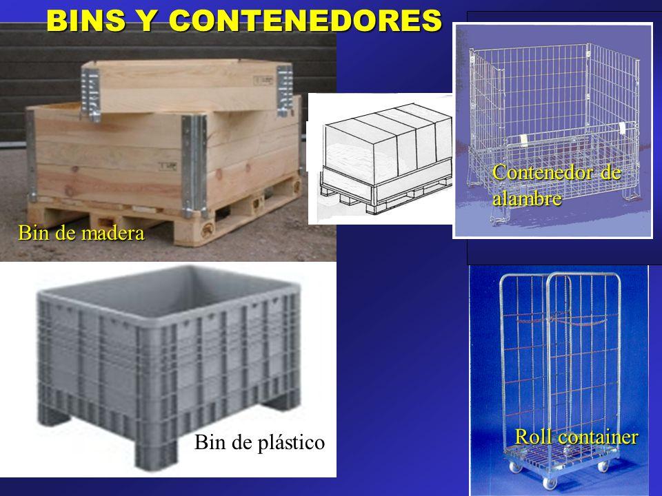 BINS Y CONTENEDORES Contenedor de alambre Bin de madera Roll container