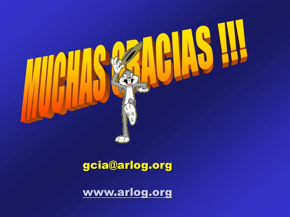 MUCHAS GRACIAS !!! gcia@arlog.org www.arlog.org