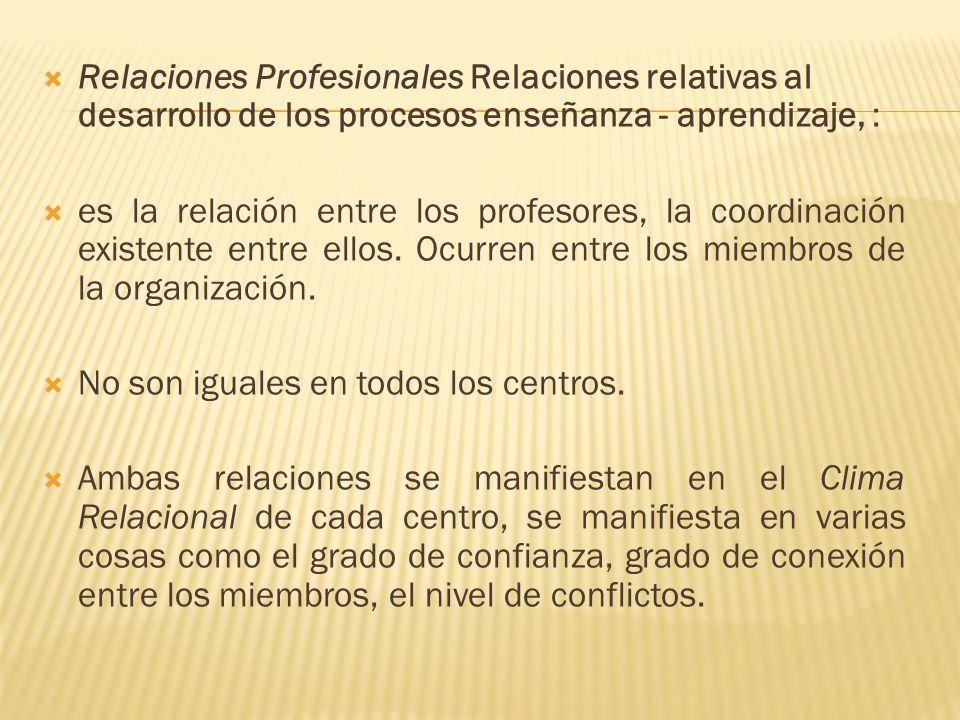 Relaciones Profesionales Relaciones relativas al desarrollo de los procesos enseñanza - aprendizaje, :