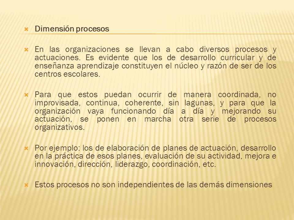 Dimensión procesos