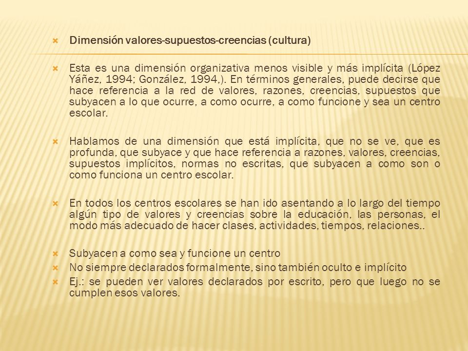 Dimensión valores-supuestos-creencias (cultura)