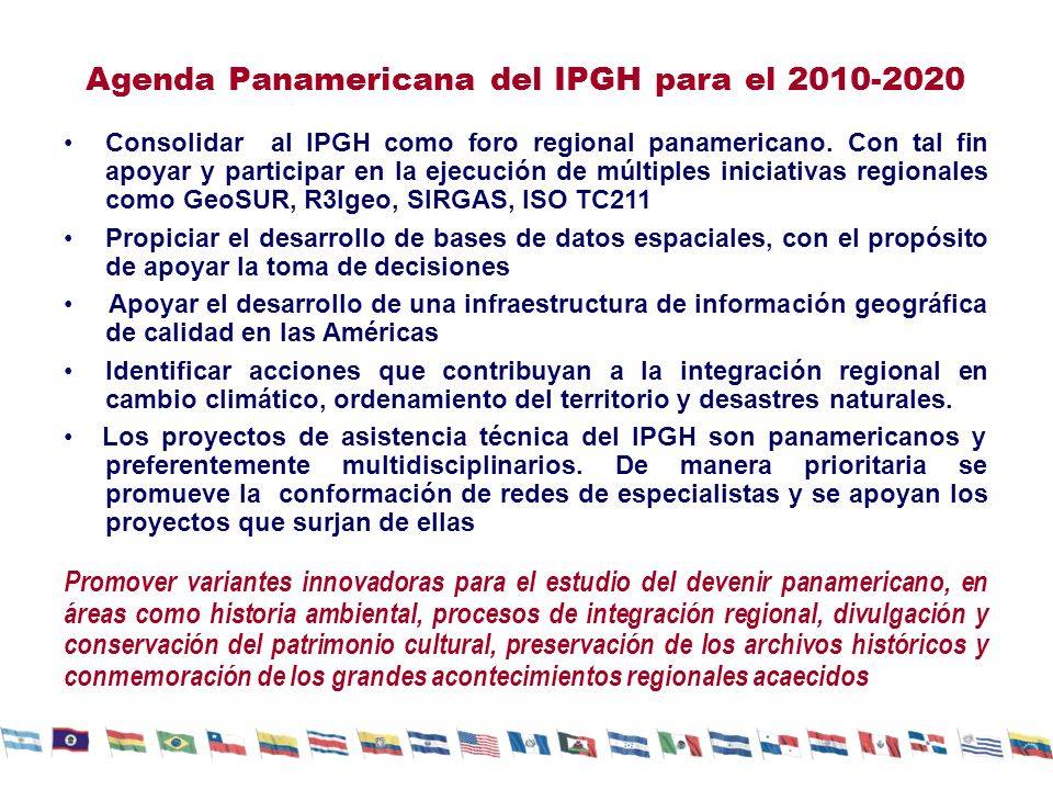 Agenda Panamericana del IPGH para el 2010-2020