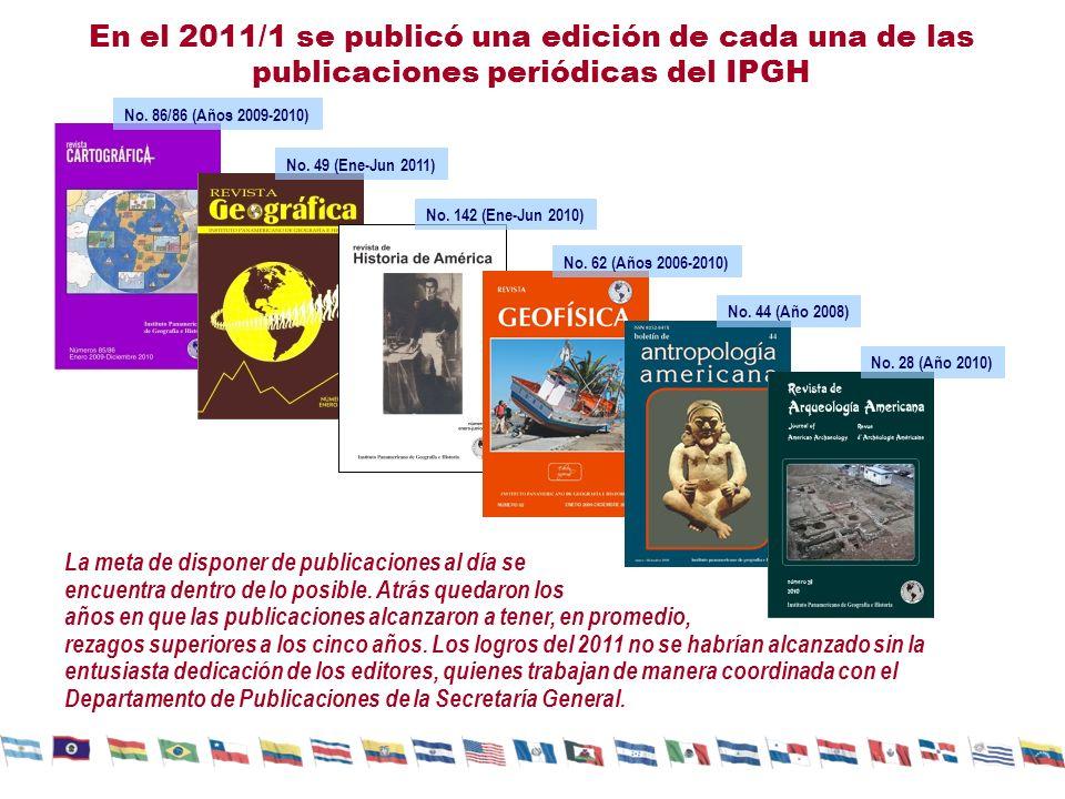 En el 2011/1 se publicó una edición de cada una de las publicaciones periódicas del IPGH
