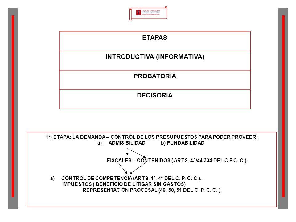 ETAPAS INTRODUCTIVA (INFORMATIVA) PROBATORIA DECISORIA