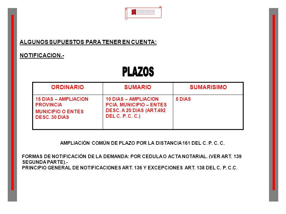 PLAZOS ALGUNOS SUPUESTOS PARA TENER EN CUENTA: NOTIFICACION.-