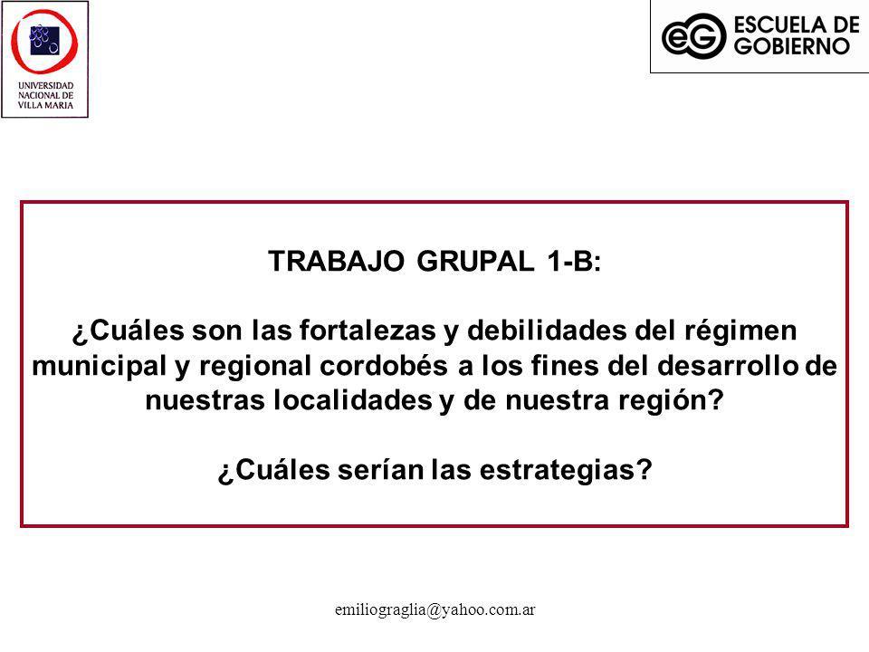 TRABAJO GRUPAL 1-B: ¿Cuáles son las fortalezas y debilidades del régimen municipal y regional cordobés a los fines del desarrollo de nuestras localidades y de nuestra región ¿Cuáles serían las estrategias