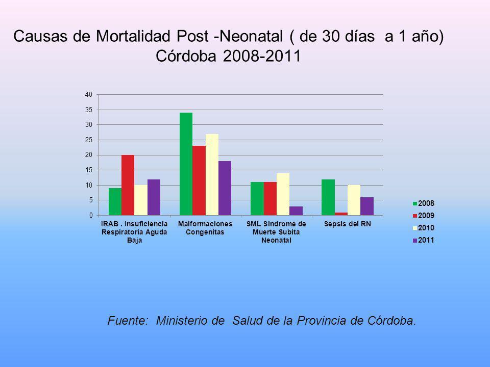 Causas de Mortalidad Post -Neonatal ( de 30 días a 1 año) Córdoba 2008-2011