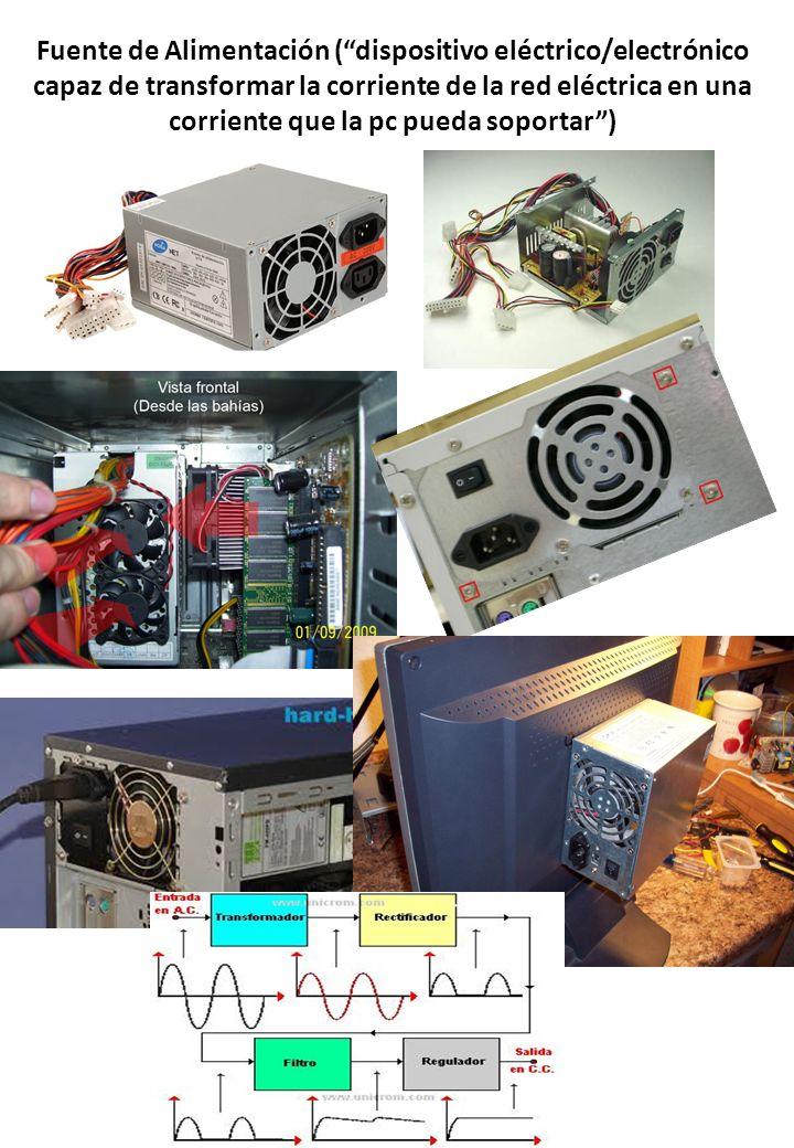 Fuente de Alimentación ( dispositivo eléctrico/electrónico capaz de transformar la corriente de la red eléctrica en una corriente que la pc pueda soportar )
