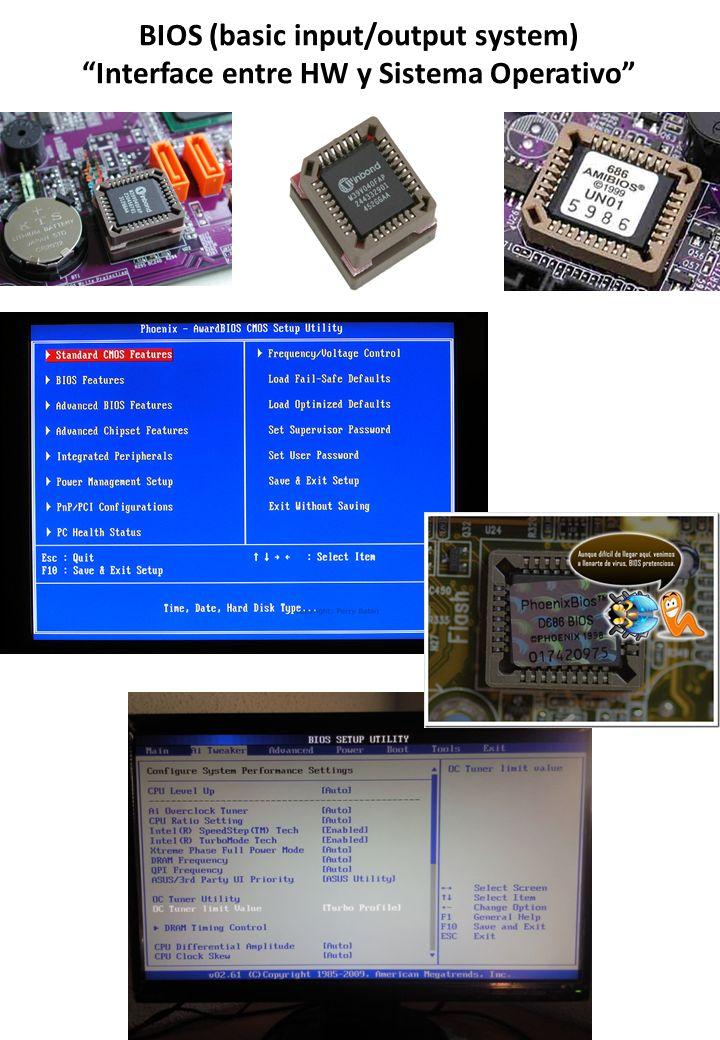 BIOS (basic input/output system) Interface entre HW y Sistema Operativo