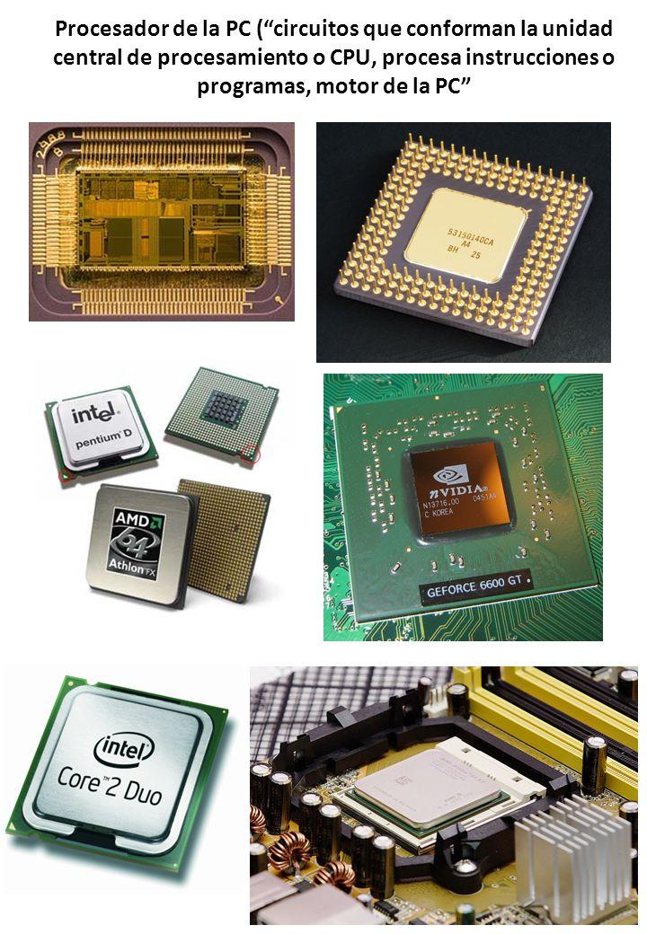 Procesador de la PC ( circuitos que conforman la unidad central de procesamiento o CPU, procesa instrucciones o programas, motor de la PC