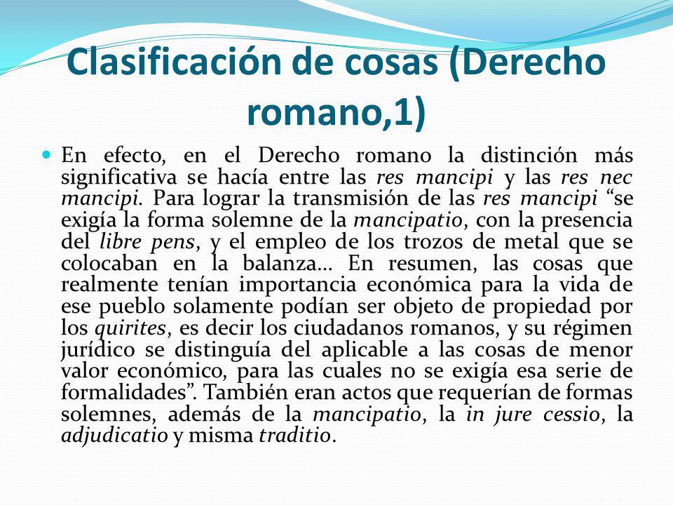 Clasificación de cosas (Derecho romano,1)