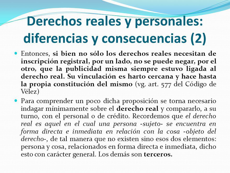 Derechos reales y personales: diferencias y consecuencias (2)