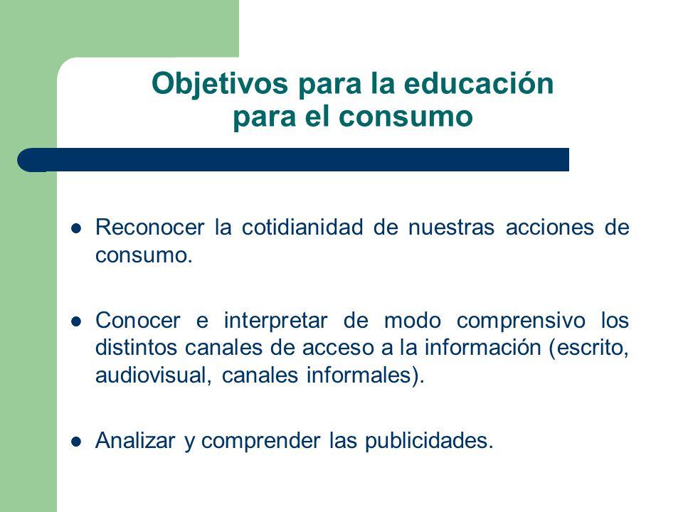 Objetivos para la educación para el consumo