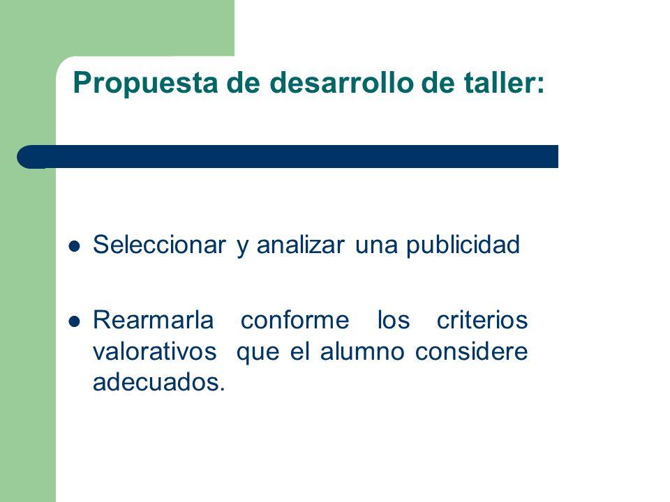 Propuesta de desarrollo de taller: