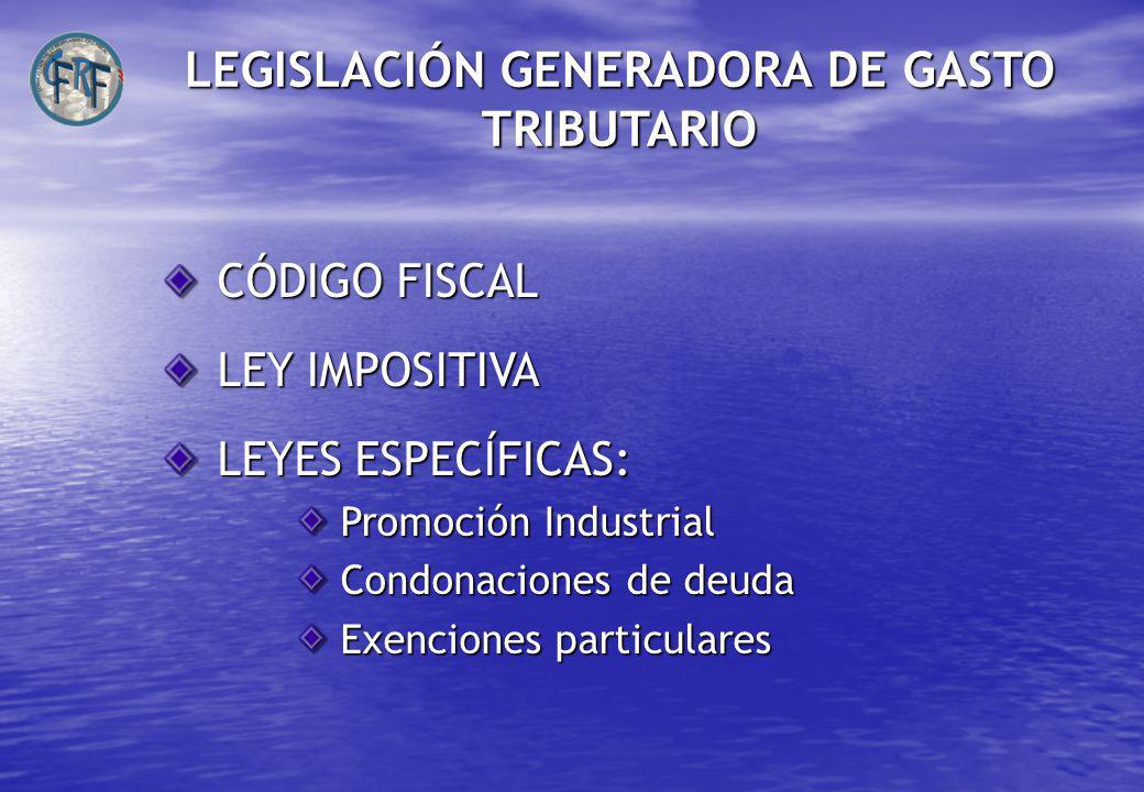 LEGISLACIÓN GENERADORA DE GASTO TRIBUTARIO