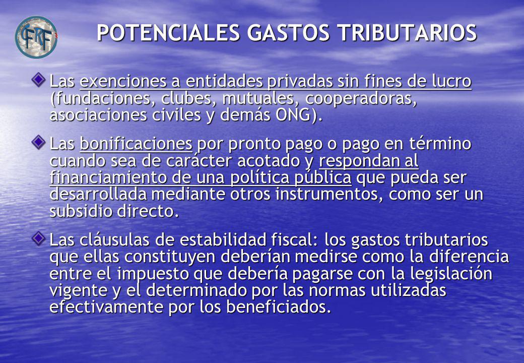 POTENCIALES GASTOS TRIBUTARIOS