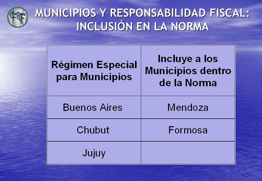 MUNICIPIOS Y RESPONSABILIDAD FISCAL: INCLUSIÓN EN LA NORMA