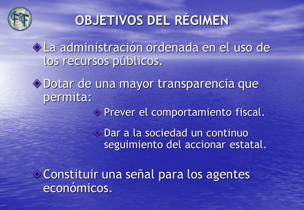 OBJETIVOS DEL RÉGIMEN La administración ordenada en el uso de los recursos públicos. Dotar de una mayor transparencia que permita:
