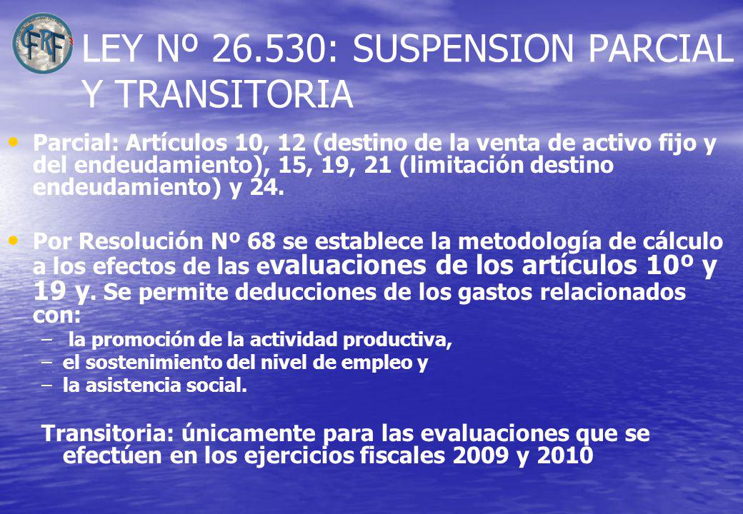 LEY Nº 26.530: SUSPENSION PARCIAL Y TRANSITORIA