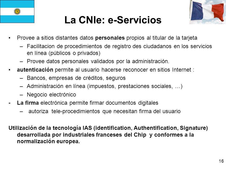 La CNIe: e-Servicios Provee a sitios distantes datos personales propios al titular de la tarjeta.