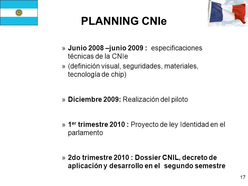 PLANNING CNIe Junio 2008 –junio 2009 : especificaciones técnicas de la CNIe. (definición visual, seguridades, materiales, tecnología de chip)