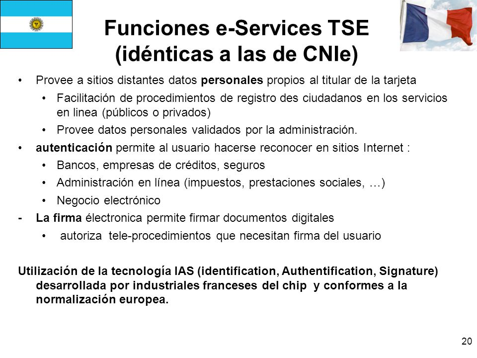 Funciones e-Services TSE (idénticas a las de CNIe)