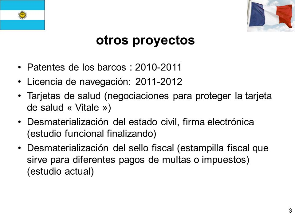 otros proyectos Patentes de los barcos : 2010-2011