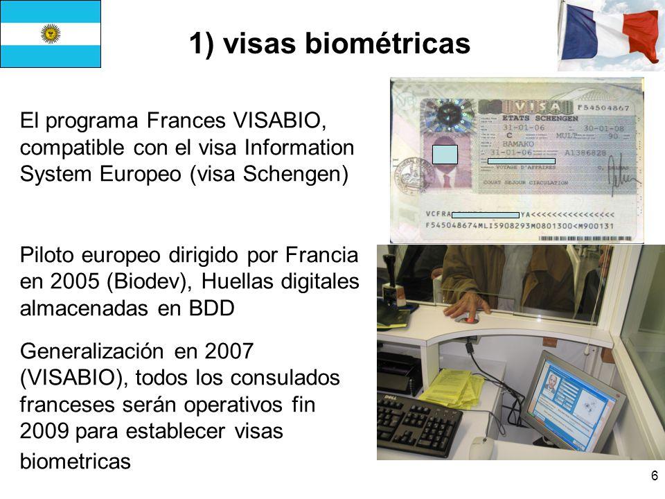 1) visas biométricas El programa Frances VISABIO, compatible con el visa Information System Europeo (visa Schengen)