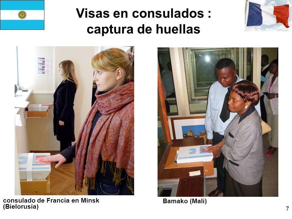 Visas en consulados : captura de huellas