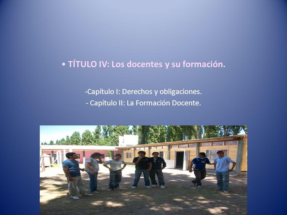 TÍTULO IV: Los docentes y su formación.