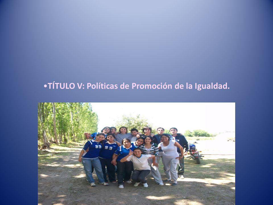 TÍTULO V: Políticas de Promoción de la Igualdad.
