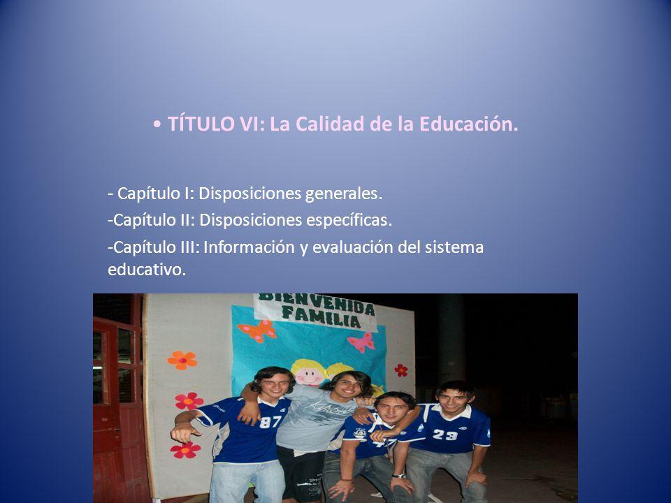 TÍTULO VI: La Calidad de la Educación.