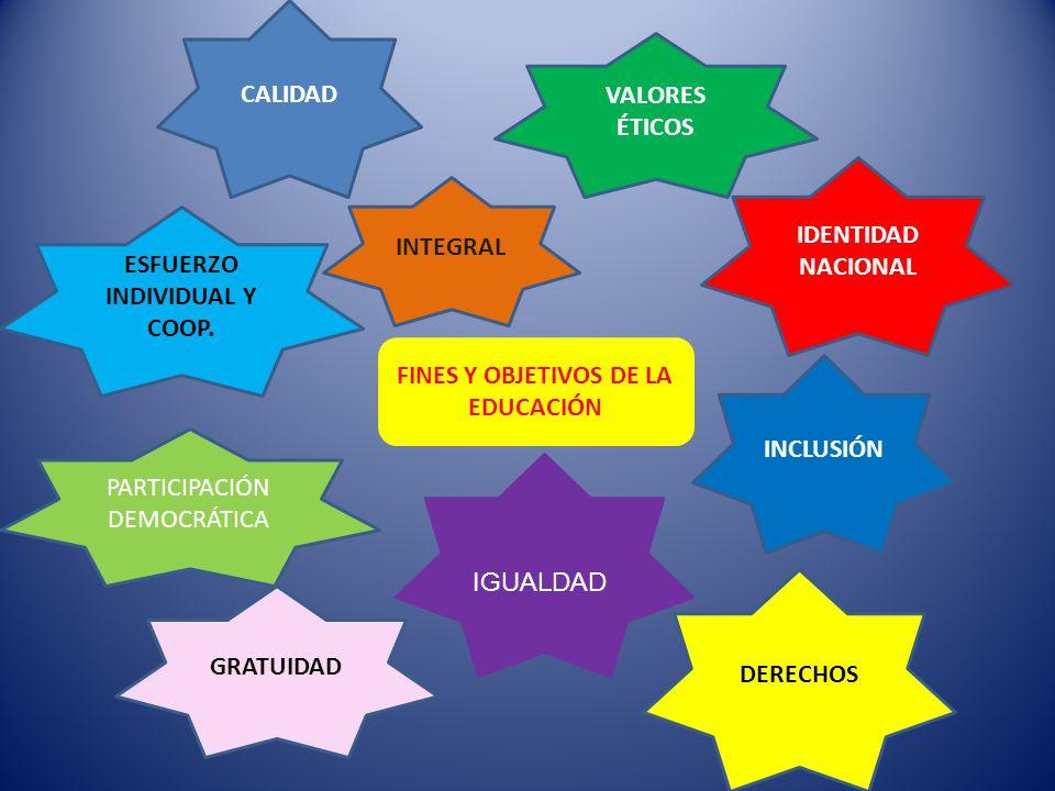 ESFUERZO INDIVIDUAL Y COOP. FINES Y OBJETIVOS DE LA EDUCACIÓN