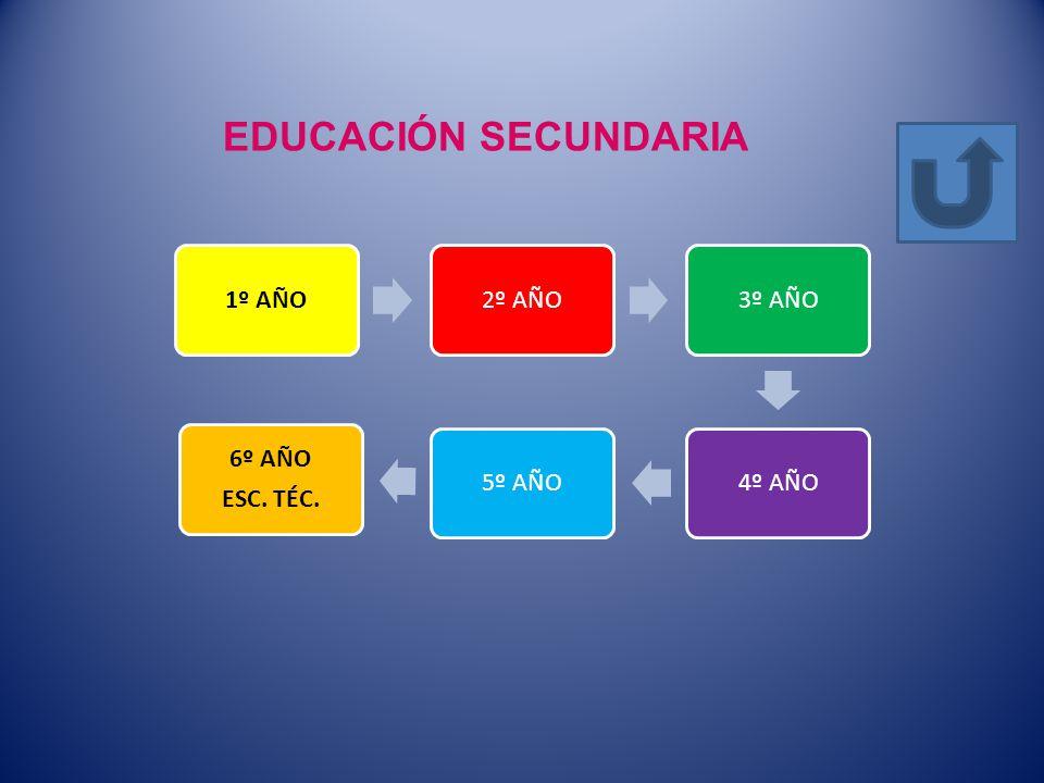 EDUCACIÓN SECUNDARIA 1º AÑO 2º AÑO 3º AÑO 4º AÑO 5º AÑO 6º AÑO